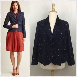 ModCloth Polka Dotted Blazer with Elbow Patches
